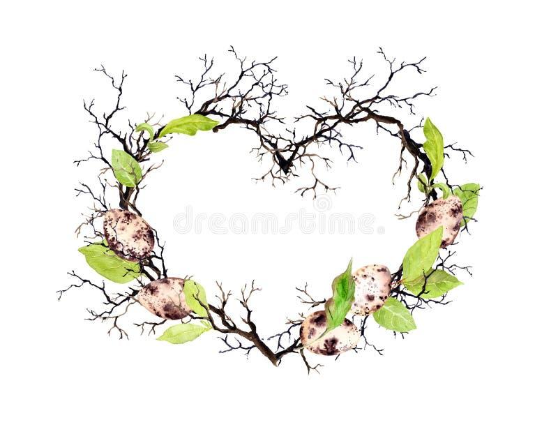 Ovos da páscoa, ramos, folhas da mola Forma do coração Grinalda floral da aquarela para a Páscoa ilustração stock
