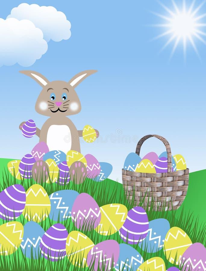 Ovos da páscoa roxos cor-de-rosa, coelho e cesta amarelos e azuis com os montes ilustração do fundo do céu azul da grama verde e  ilustração royalty free