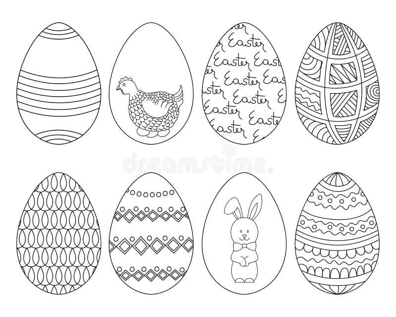 Ovos da páscoa tirados mão ajustados Vetor ilustração royalty free