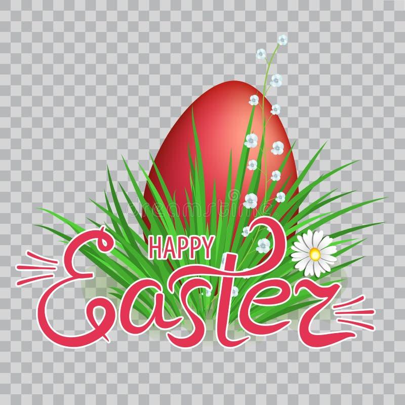 Ovos da páscoa vermelhos na grama verde com flores e rotulação da Páscoa feliz no fundo transparente Elemento para o projeto come ilustração stock