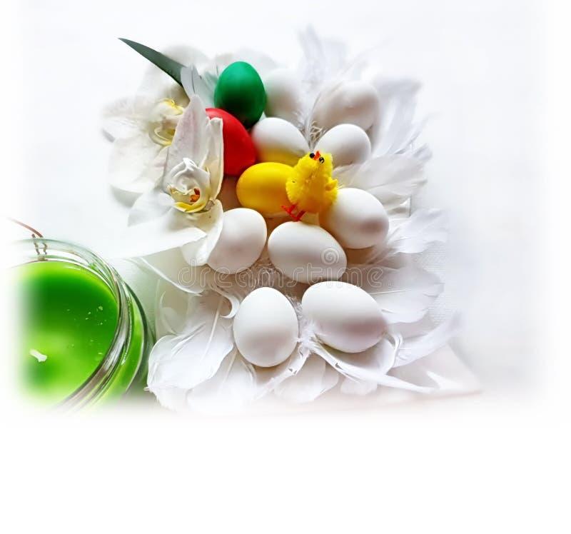 Ovos da p?scoa brancos e projeto azul do feriado do tema do fundo dos cumprimentos da ilustra??o da ?rvore de salgueiro vermelho imagem de stock