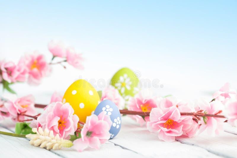 Ovos da p?scoa e decora??o cor-de-rosa das flores no fundo azul fotos de stock
