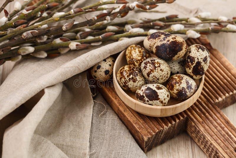 Ovos de codorniz com ramos do salgueiro Easter feliz fotografia de stock