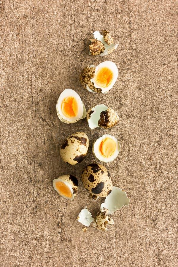 Ovos de codorniz, fervido duramente, inteiro, partidos ao meio e shell fotografia de stock royalty free