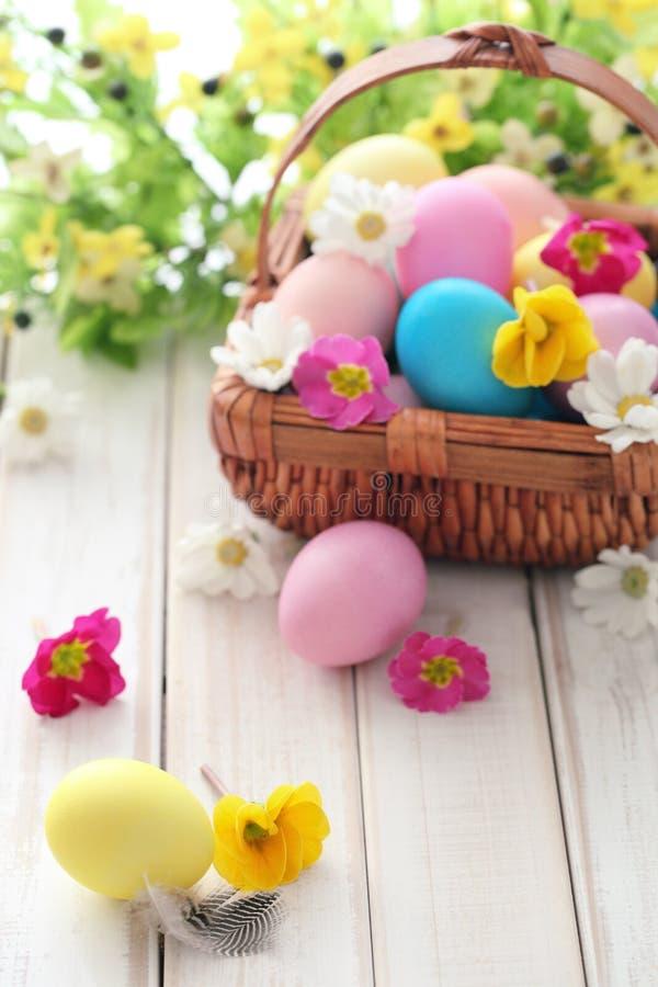 Ovos de Easter com flores da mola fotografia de stock
