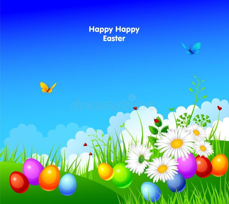 Ovos de Easter com grama e fita ilustração royalty free