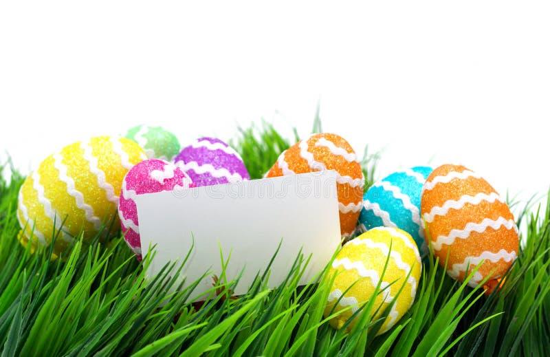 Ovos de Easter e nota em branco imagem de stock