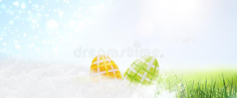 Ovos de Easter escondidos na grama imagem de stock