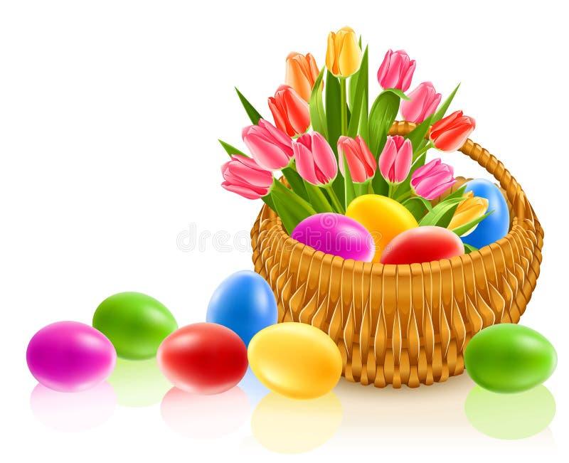 Ovos de Easter na cesta com flores do tulip ilustração do vetor