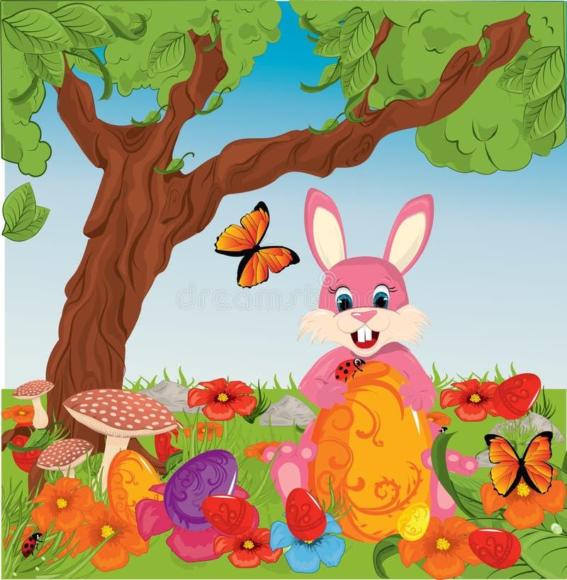 Ovos de Easter na grama com coelho ilustração stock