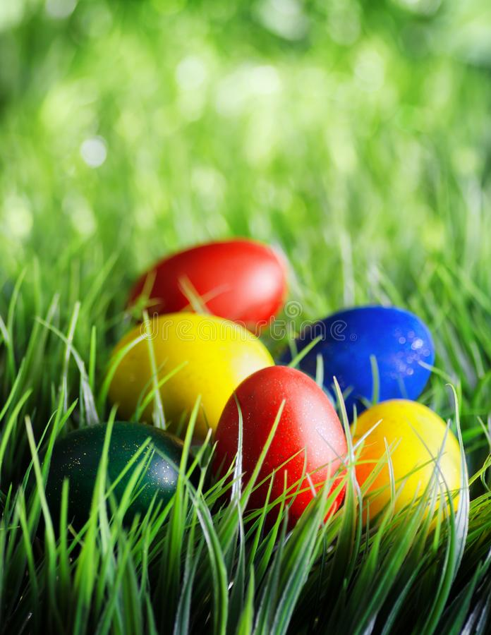 Ovos de Easter na grama verde fotos de stock royalty free
