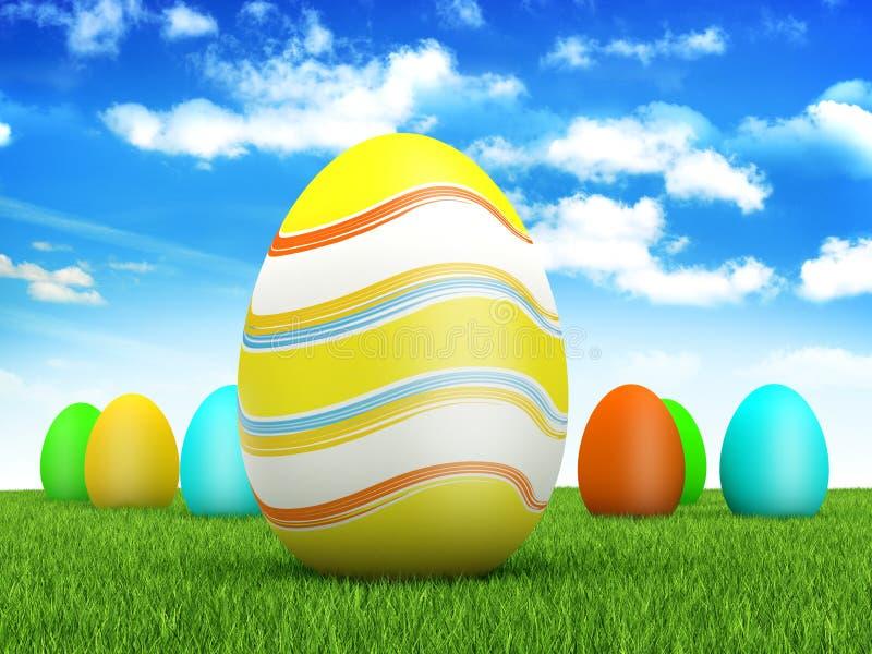 Ovos de Easter no fundo da mola ilustração do vetor