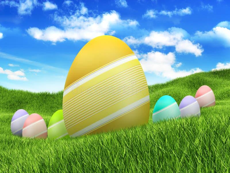 Ovos de Easter no fundo da natureza ilustração do vetor