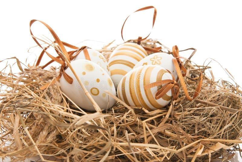 Ovos de Easter no ninho imagem de stock