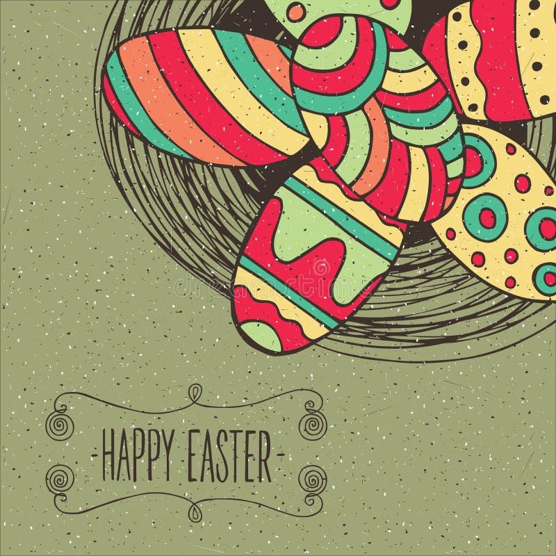 Ovos de Easter no ninho ilustração stock