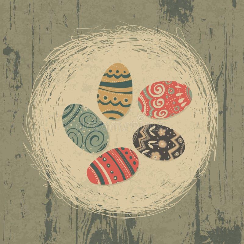 Ovos de Easter no ninho na textura de madeira. ilustração stock