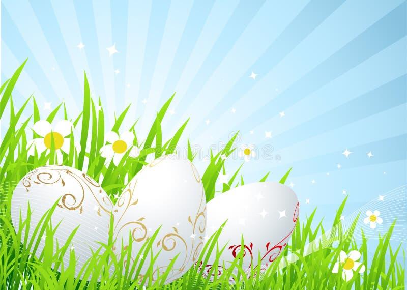 Ovos de Easter no prado da mola ilustração stock
