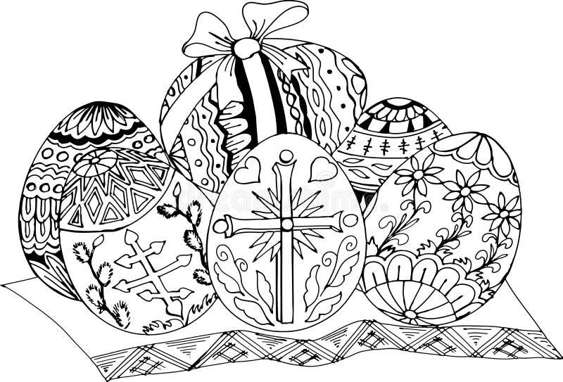 Ovos de easter pintados Testes padrões tirados mão para colorir Desenho de esboço a mão livre para o livro para colorir antistres ilustração do vetor
