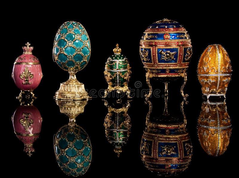 Ovos de Faberge do grupo. fotografia de stock royalty free