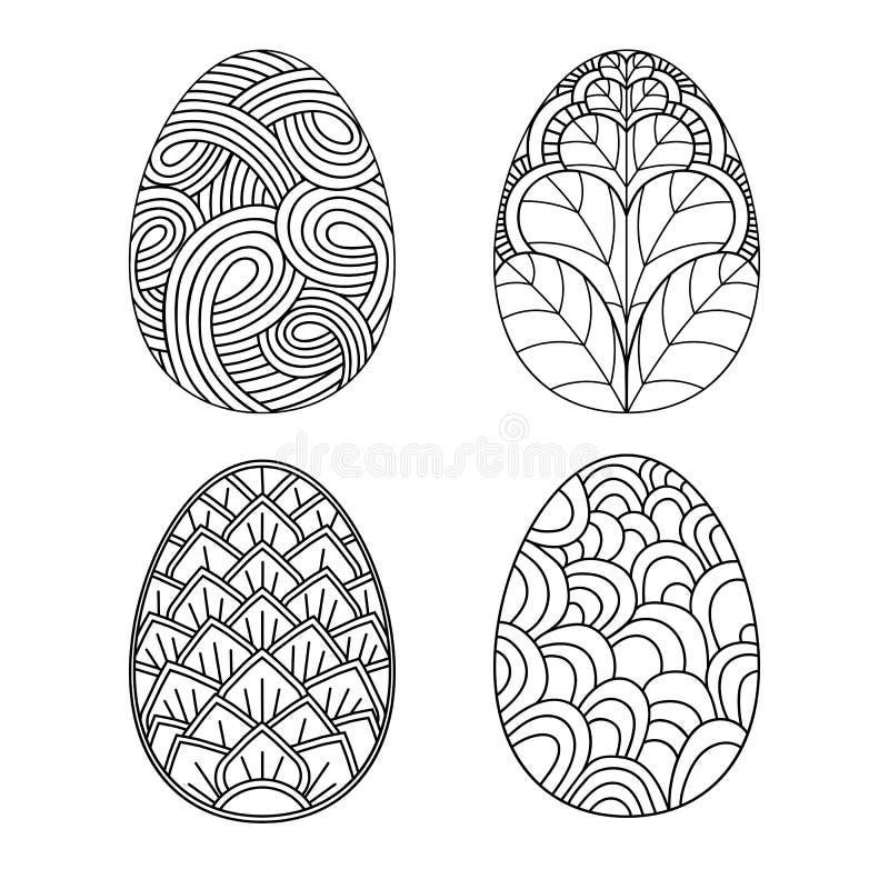 Ovos de tiragem da mão da Páscoa, grupo dos títulos ilustração stock