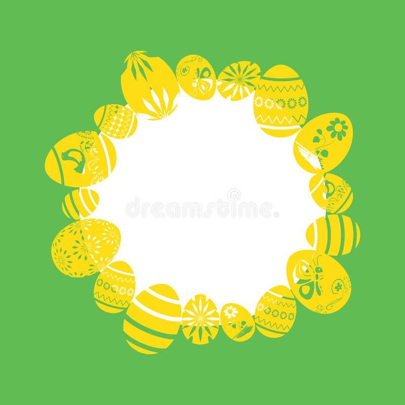 Ovos decorativos amarelos como o quadro no fundo verde - ilustra??es do vetor de easter ilustração royalty free