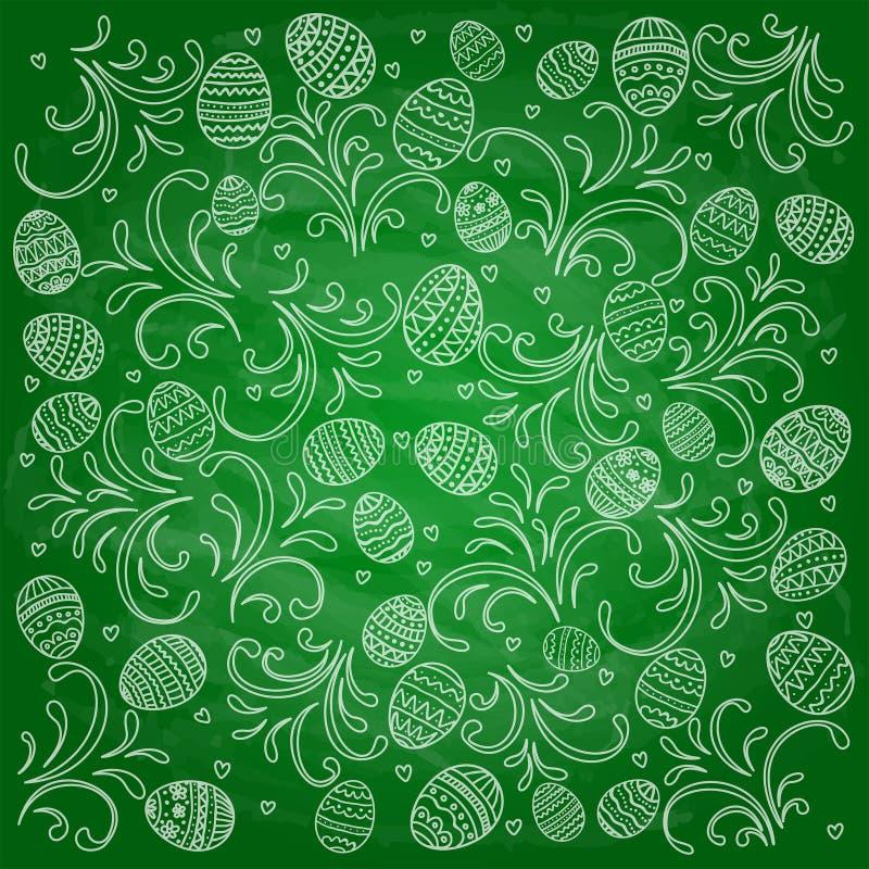 Ovos decorativos da Páscoa com testes padrões no backgro verde do quadro ilustração do vetor