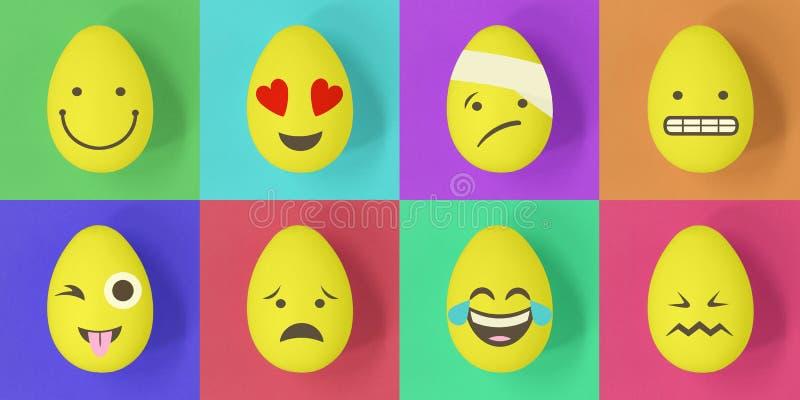 Ovos do emoji da Páscoa em um fundo colorido dos quadrados ilustração royalty free
