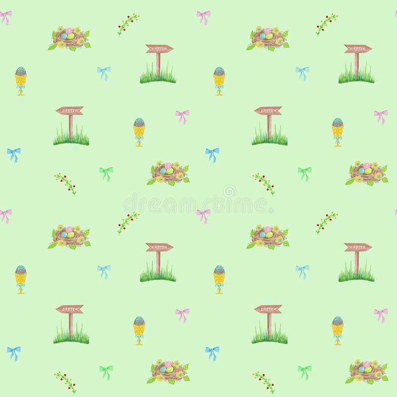Ovos dos elementos do projeto da Páscoa, para a matéria têxtil, tela, decoração ilustração royalty free