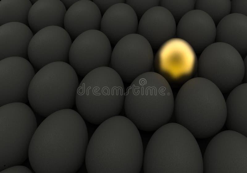 Ovos dourados e pretos do fundo da Páscoa ilustração stock