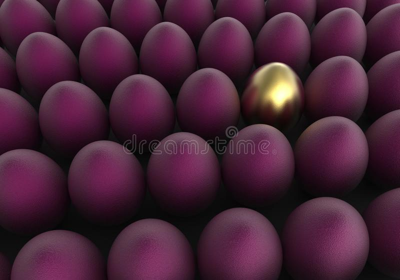 Ovos dourados e roxos do fundo da Páscoa ilustração do vetor