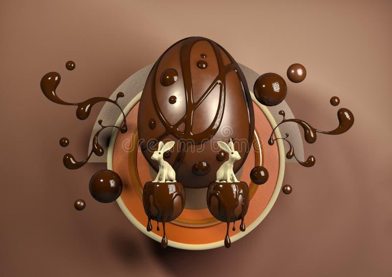 ovos e coelho modernos elegantes da ilustração 3D fotos de stock royalty free