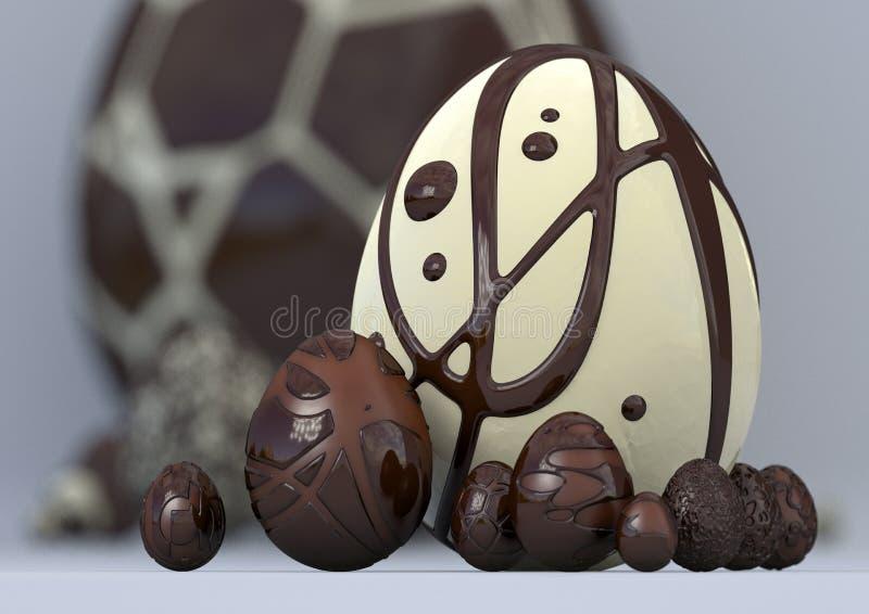 ovos e coelho modernos elegantes da ilustração 3D imagens de stock