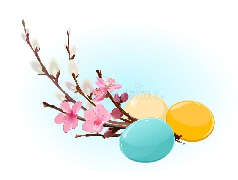 Ovos e flores de Easter ilustração stock