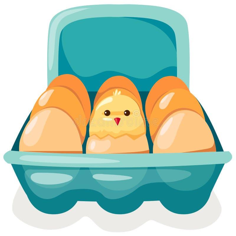 Ovos e galinha na caixa ilustração royalty free