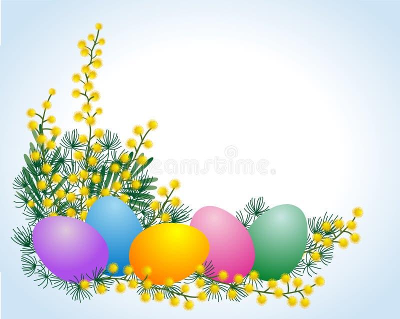 Ovos e mimosa de Easter ilustração royalty free