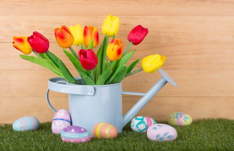 Ovos e tulips de Easter fotografia de stock