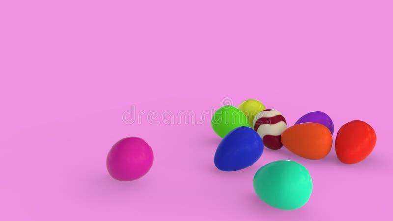 Ovos em cores diferentes em um fundo branco, rendição 3d ilustração do vetor