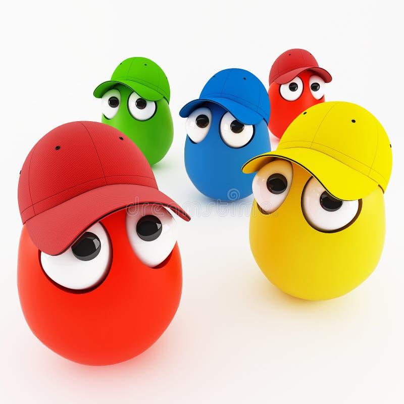 Ovos engraçados no tampão como uns desenhos animados ilustração royalty free