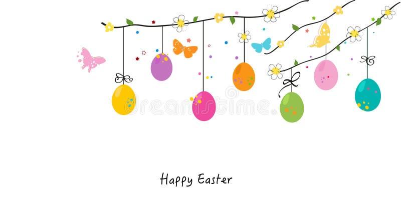 Ovos felizes da silhueta de easter, coelho, vetor do cartão do pintainho ilustração do vetor