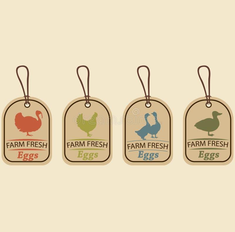 Ovos frescos da exploração agrícola Logotipo do vetor, ilustração royalty free
