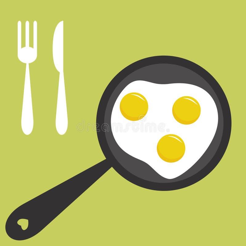 Ovos fritados ilustração do vetor