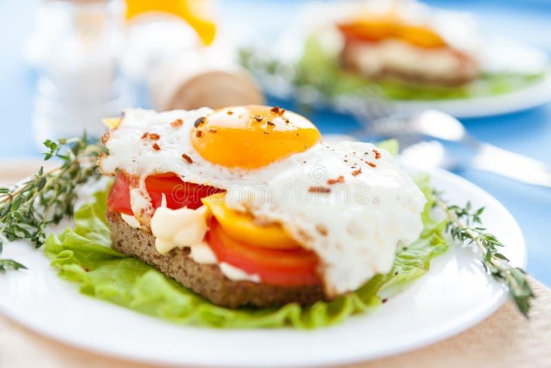 Ovos fritados com pimentas e tomates em uma placa branca fotos de stock royalty free