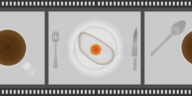 Ovos fritos e xícara de café para o café da manhã na placa, com forquilha e faca em um cinema emprestado Vista superior ilustração royalty free