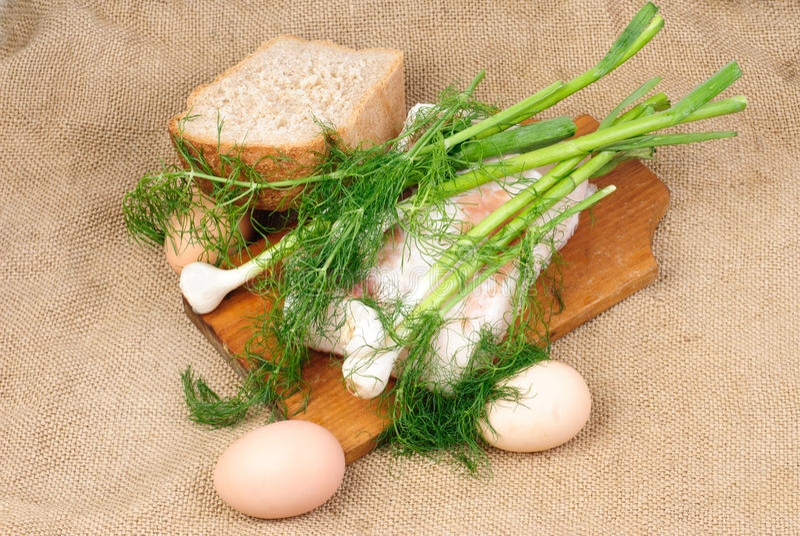 Ovos, lard.garlic, aneto imagem de stock royalty free