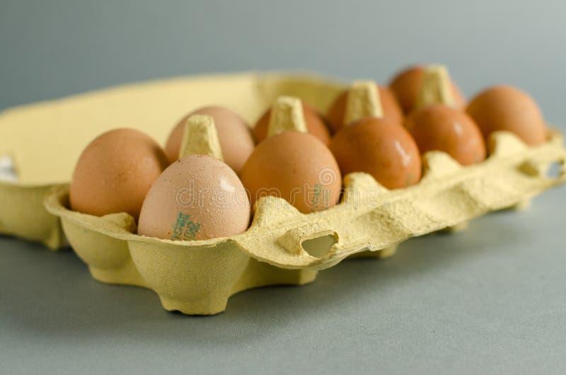 12 ovos marrons na caixa amarela do ovo imagens de stock royalty free