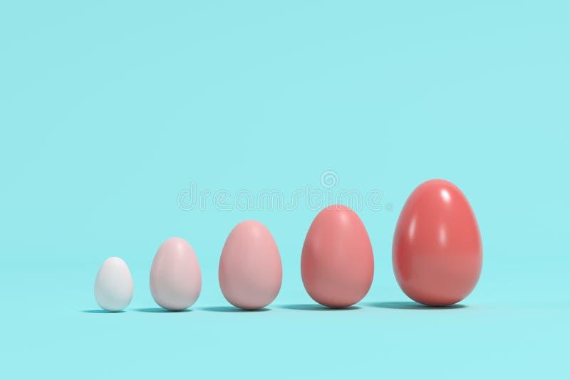 Ovos monótonos vermelhos em tamanhos diferentes no fundo azul ilustração stock