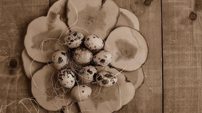 Ovos na vila na tabela Os produtos do ` s da exploração agrícola Foo fresco fotografia de stock