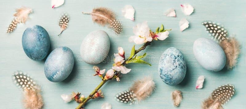 Ovos pintados para a Páscoa, penas, flores de florescência da amêndoa, composição larga imagem de stock