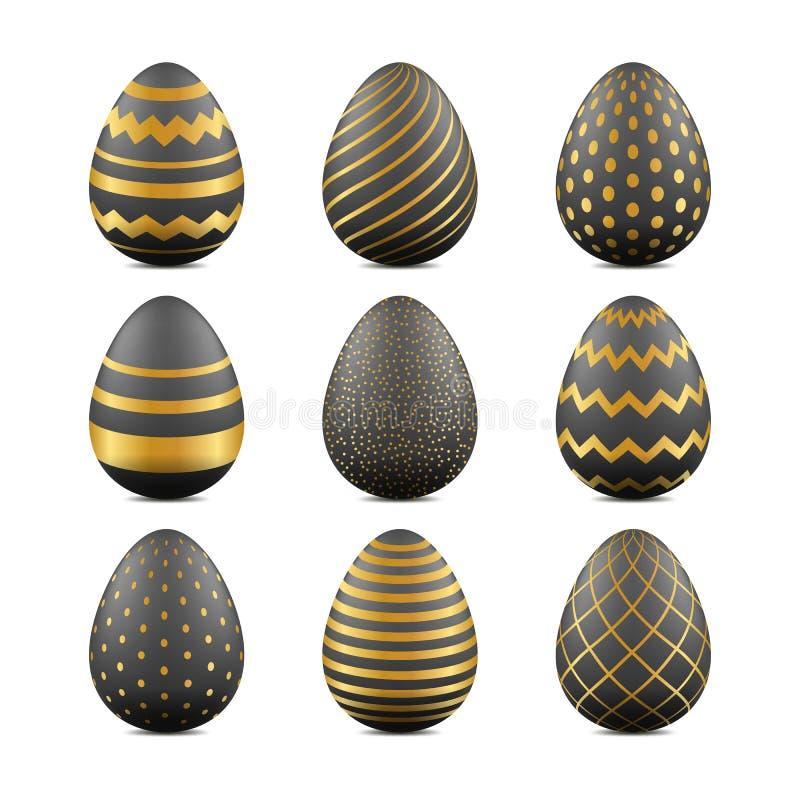 Ovos realísticos da Páscoa 3d com textura geométrica Elementos do projeto do feriado do vetor Teste padrão do preto e da cor do o ilustração royalty free