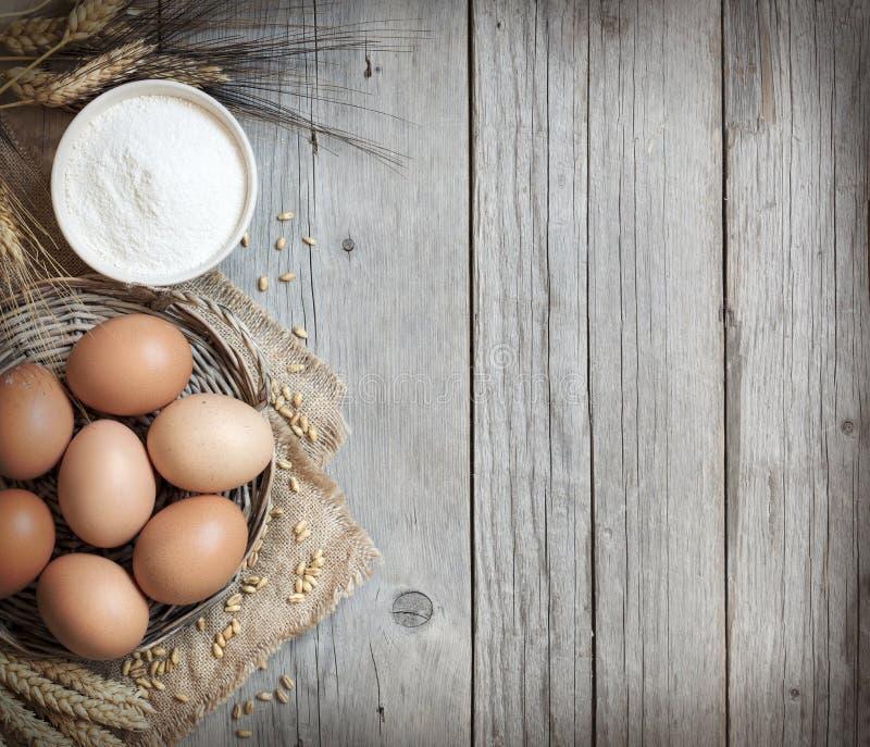 Ovos, trigo e farinha da galinha foto de stock